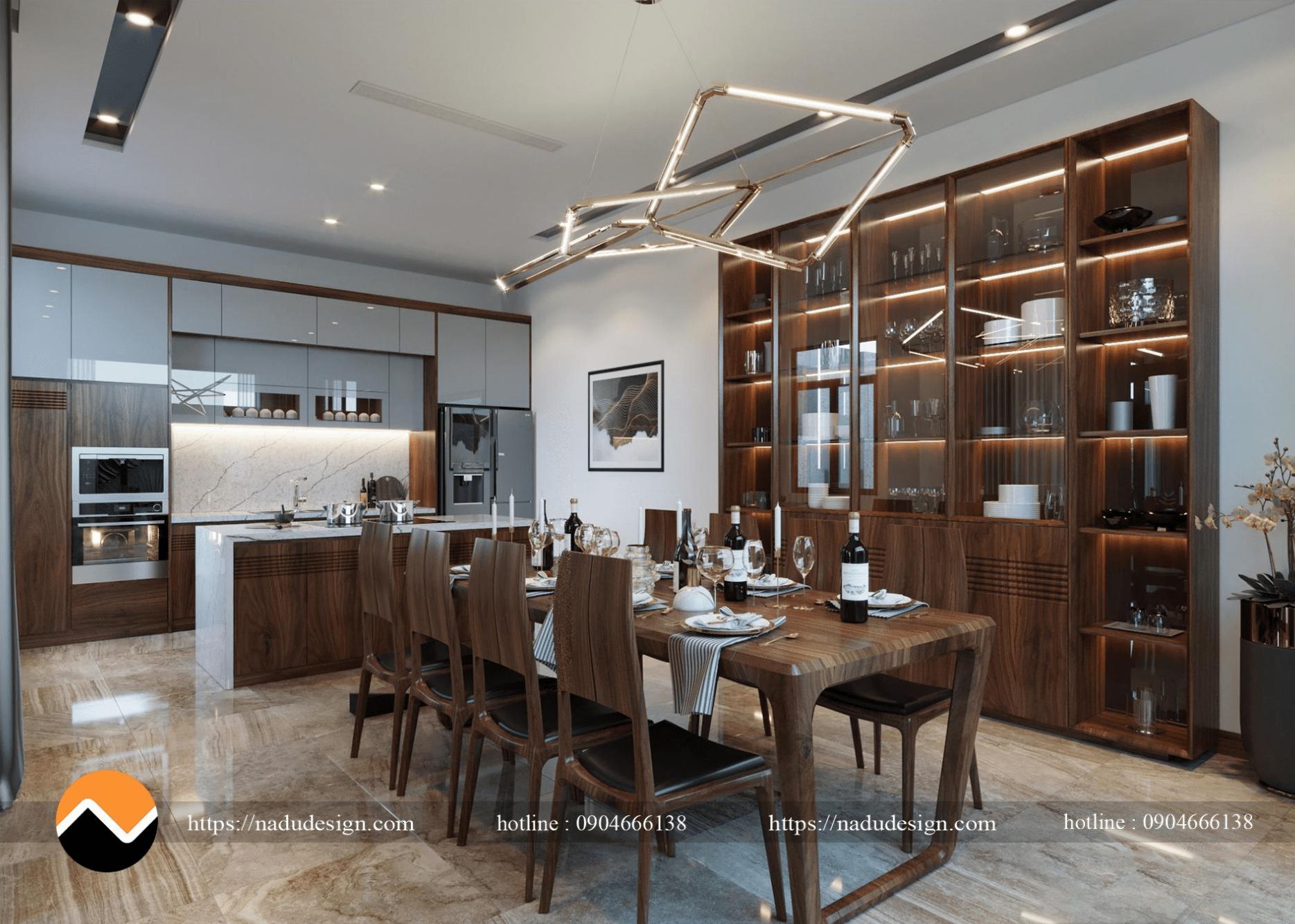 Thiết kế nội thất gỗ óc chó biệt thự Dương Nội, Hà Đông (ảnh 2)