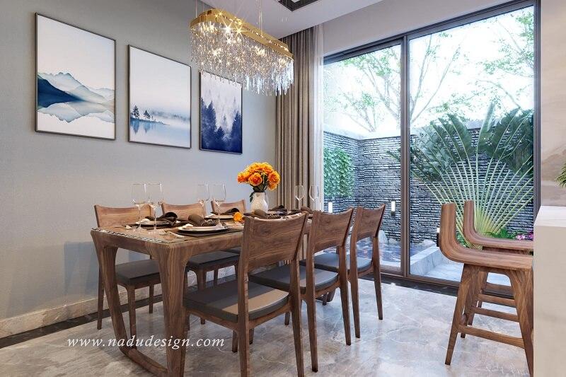 Bộ bàn ăn 6 ghế gỗ óc chó