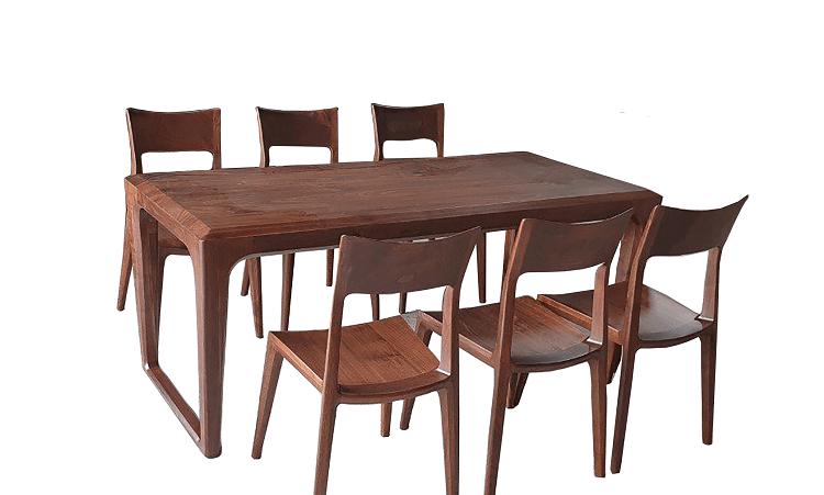 Bộ bàn ghế ăn gỗ óc chó