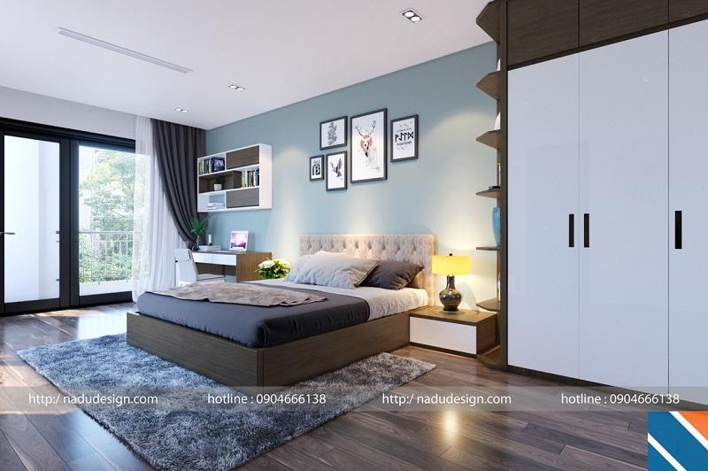 Giường gỗ sồi sơn màu óc chó