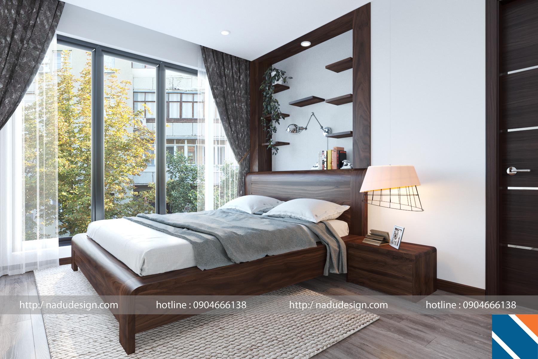 Giường ngủ gỗ óc chó phòng master