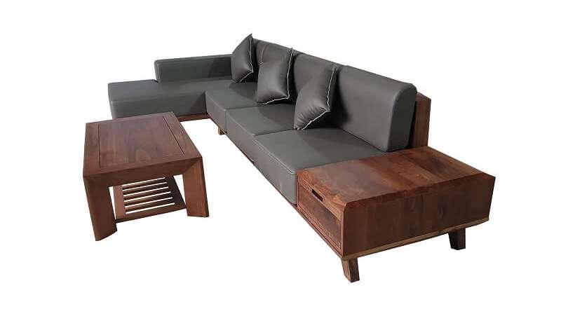 Mẫu sofa, bàn trà gỗ óc chó