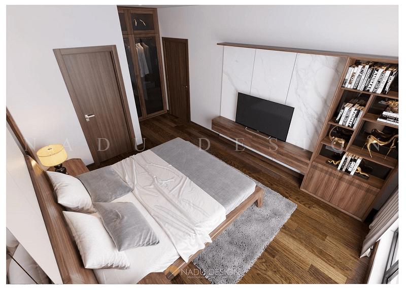 Thiết kế nội thất chung cư gỗ óc chó tự nhiên