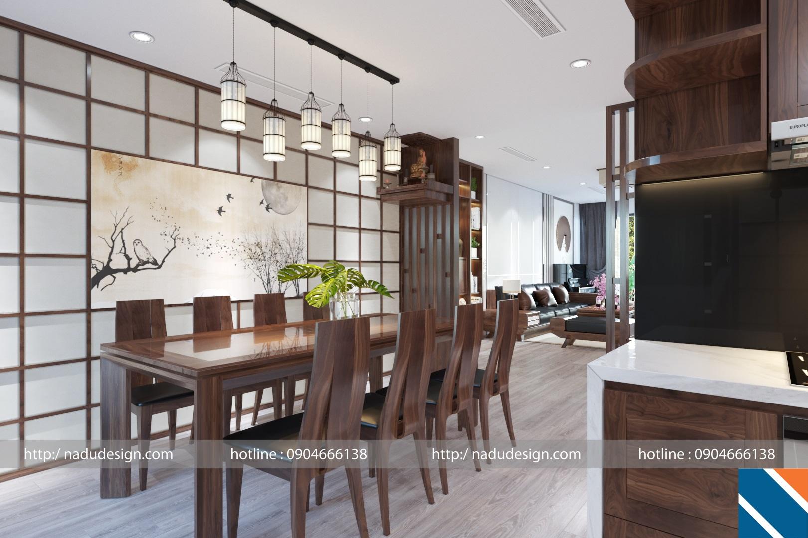 Phòng khách bếp với bộ bàn ăn nguyên khối từ gỗ óc chó