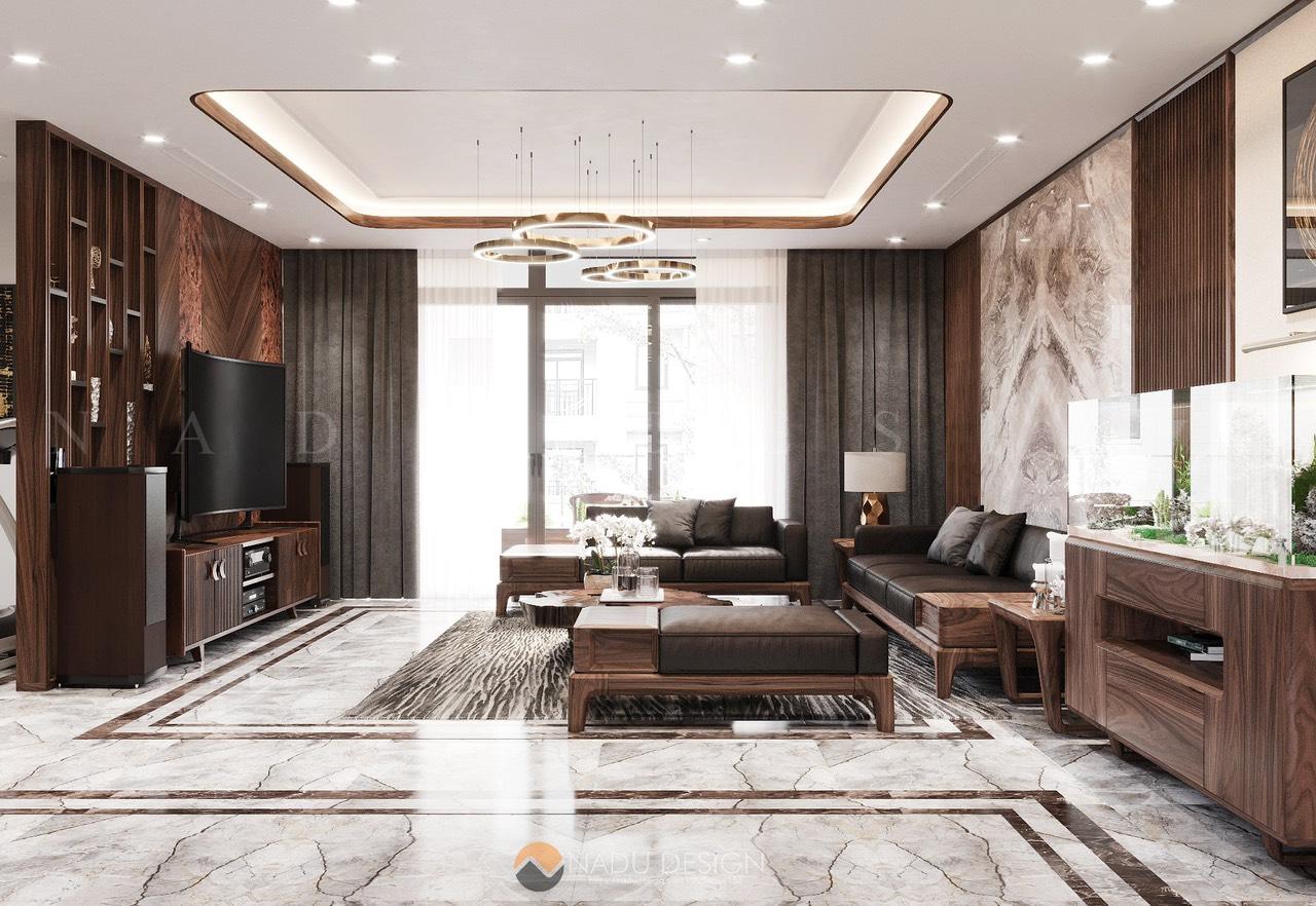 Thiết kế nội thất gỗ óc chó chung cư, phòng khách 2