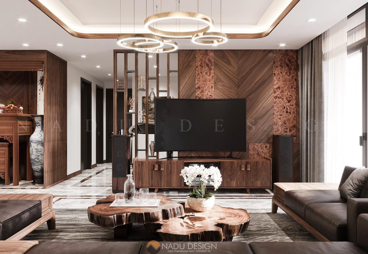 Thiết kế nội thất gỗ óc chó chung cư, phòng khách
