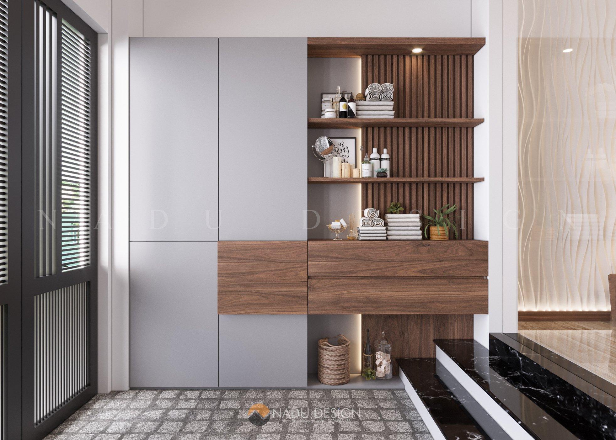 Thiết kế nội thất nhà phố 4 tầng gỗ óc chó 80m/sàn - NaDu Design