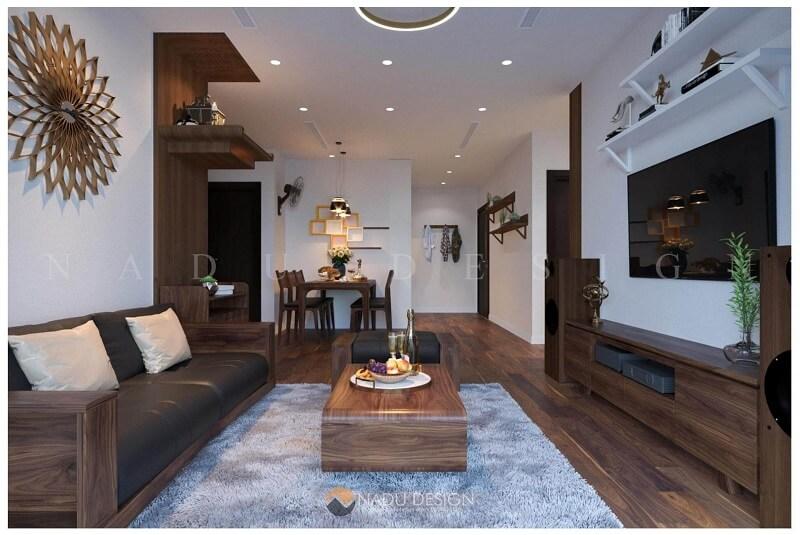 Thiết kế nội thất phòng khách gỗ óc chó chung cư