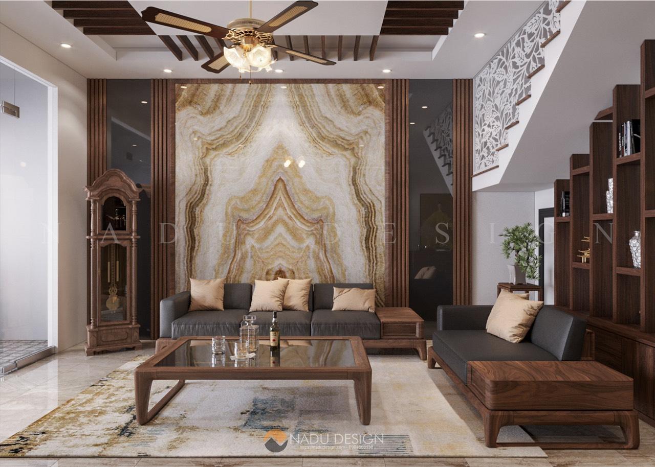 Thiết kế nội thất gỗ óc chó nhà phố, phòng khách