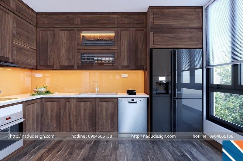 Tủ bếp gỗ óc chó kết hợp acrylic bóng gương