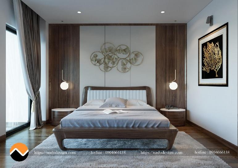 Mẫu nội thất phòng ngủ gỗ óc chó – PN002