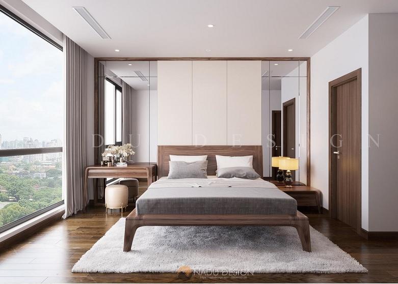 Mẫu nội thất phòng ngủ gỗ óc chó – PN001