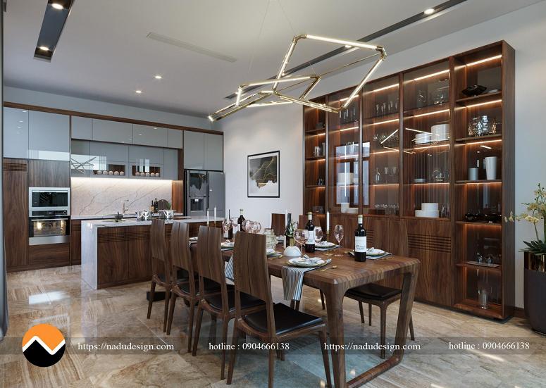 Mẫu nội thất phòng bếp nhà phố gỗ óc chó – PBNP002