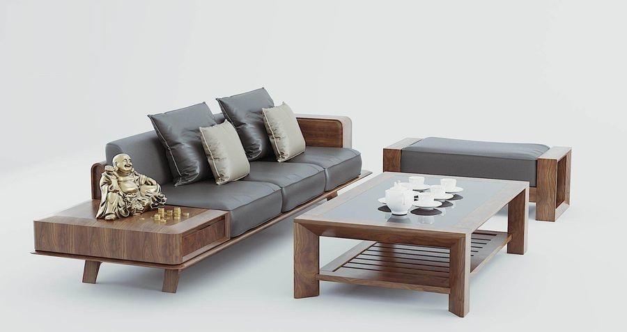 Sofa chữ i gỗ óc chó