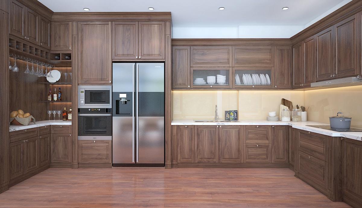 Tủ bếp gỗ óc chó chữ i – TBI001