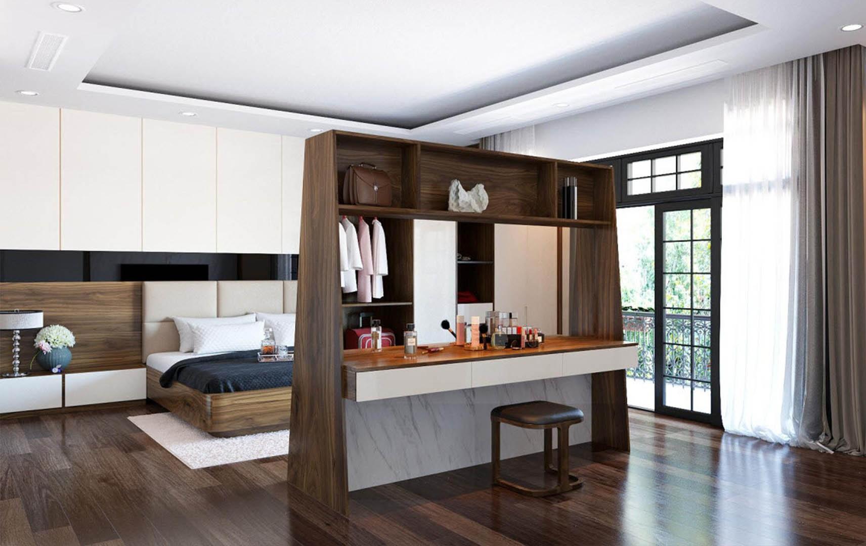 Phòng ngủ sử dụng vách ngăn gỗ óc chó đầy ấn tượng