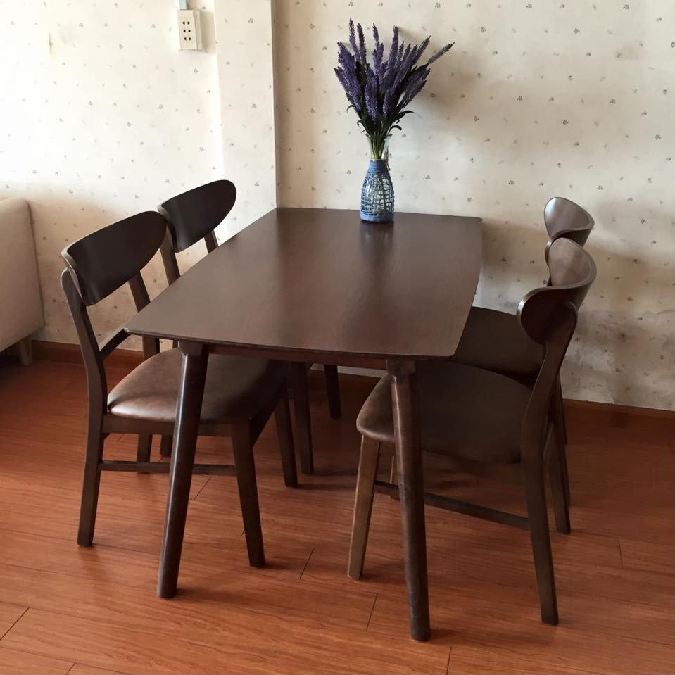 Bộ bàn ăn gỗ óc chó 4 ghế