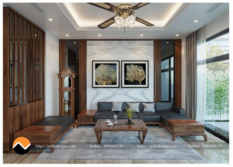 Mẫu sofa gỗ óc chó sang trọng tại NaDu Design