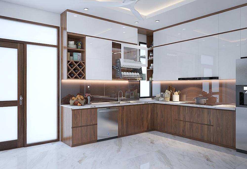 Các mẫu thiết kế tủ bếp bằng gỗ veneer óc chó đẹp hiện đại