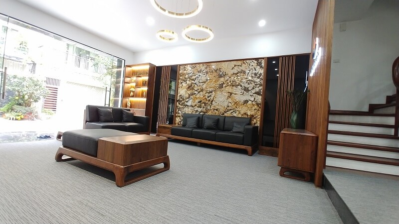 Sofa gỗ óc chó NaDu Design được làm 100% từ gỗ óc chó nhập khẩu Bắc Mỹ