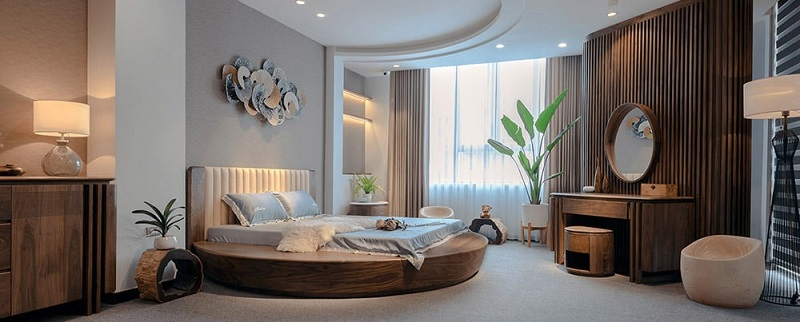 Giường ngủ gỗ óc chó dáng tròn