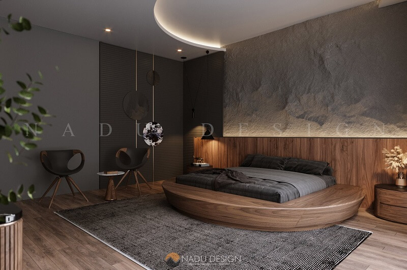 Giường tròn gỗ óc chó