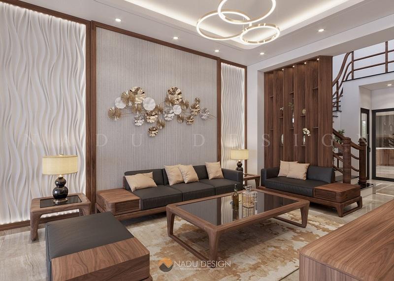 Mẫu thiết kế nội thất nhà phố gỗ óc chó gia đình anh Hải
