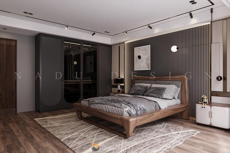 Nội thất phòng ngủ gỗ óc chó, biệt thự Hải Phòng