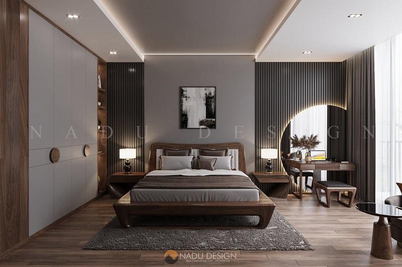 Thi công nội thất phòng ngủ nhà phố bằng chất liệu gỗ óc chó