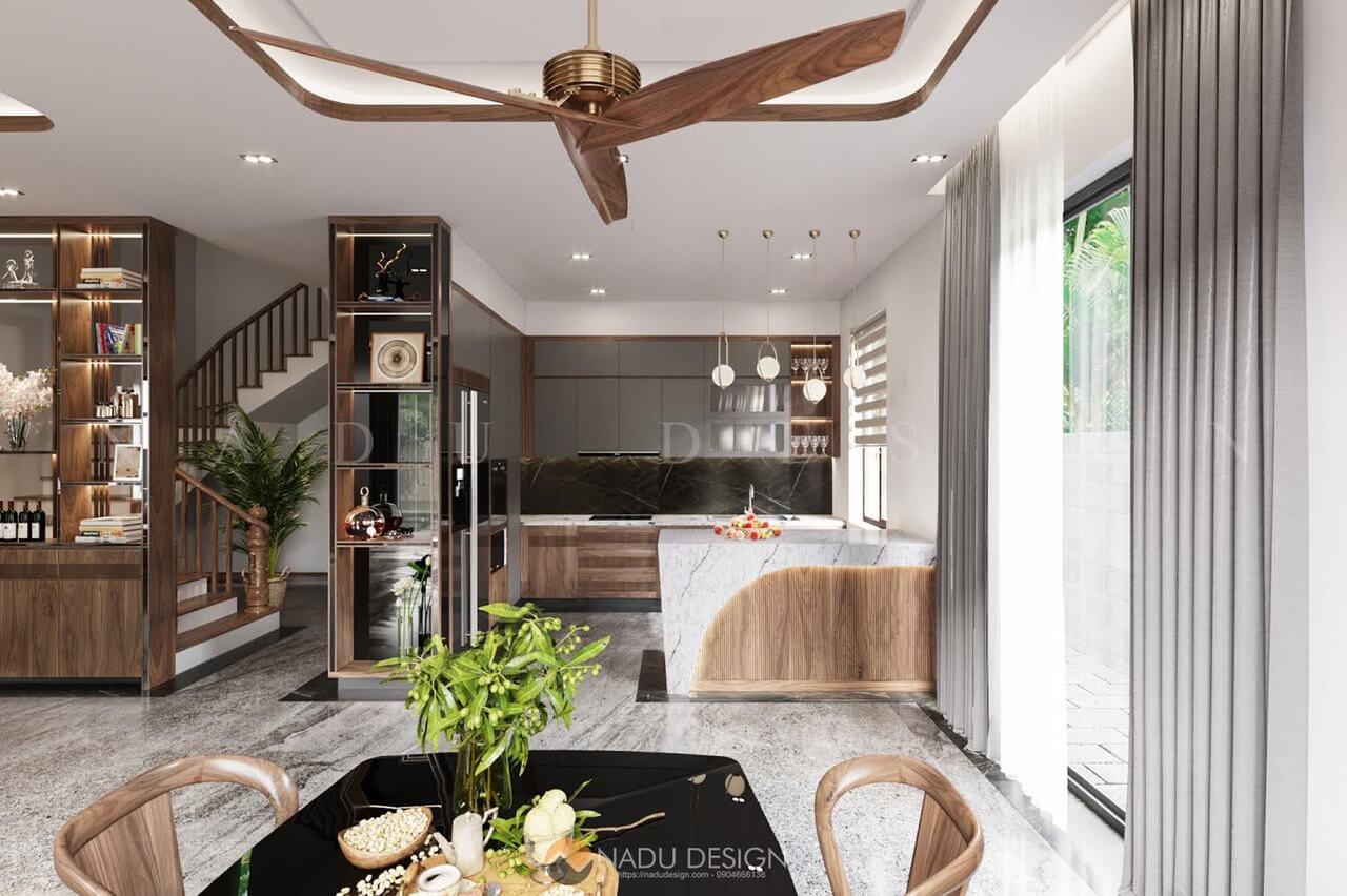 Thi công phòng bếp biệt thự Thái Bình bằng gỗ óc chó