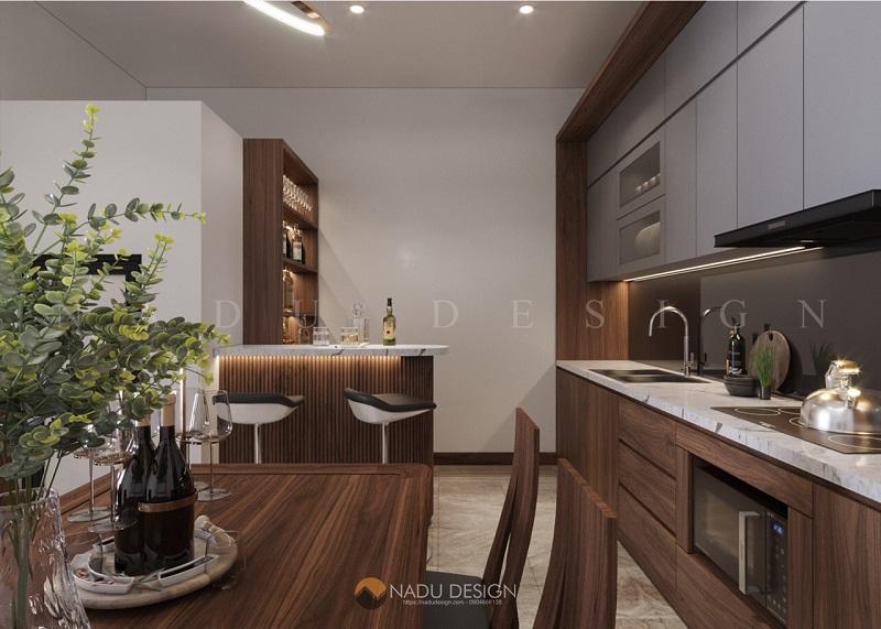 Thiết kế nội thất phòng bếp nhà phố với gỗ óc chó