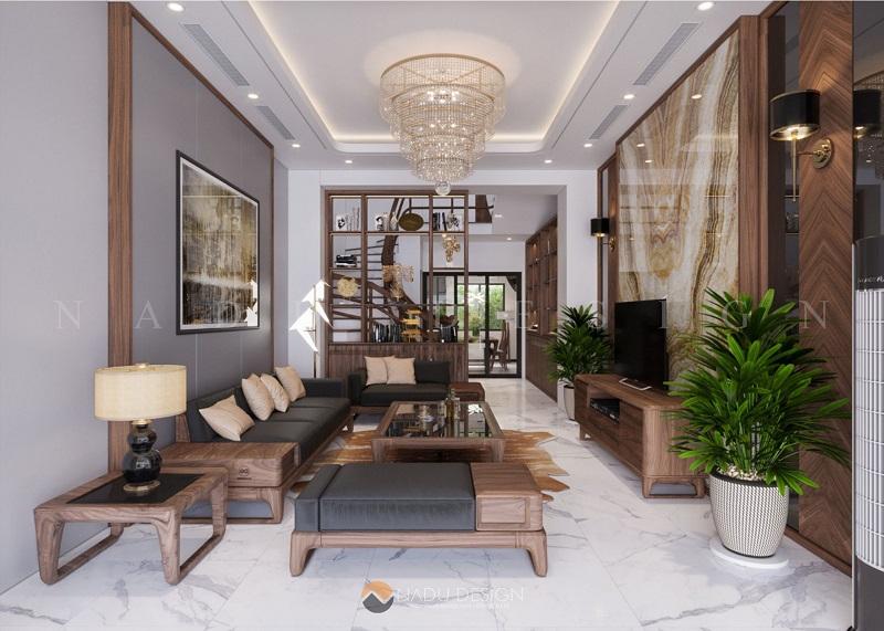 Thiết kế nội thất phòng khách nhà phố với gỗ óc chó