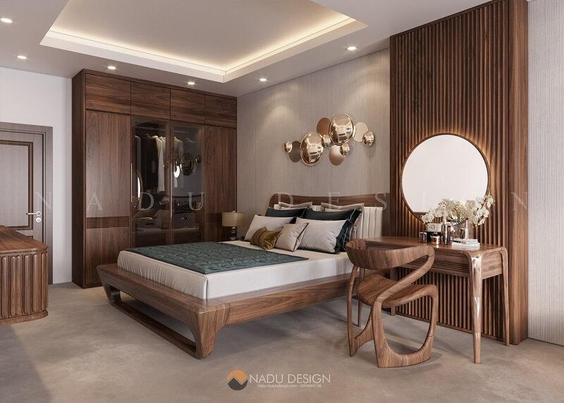 Thiết kế nội thất phòng ngủ biệt thự gỗ óc chó