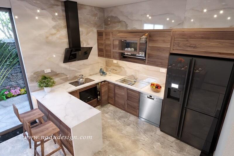 Tủ bếp 4 cánh gỗ óc chó đẹp