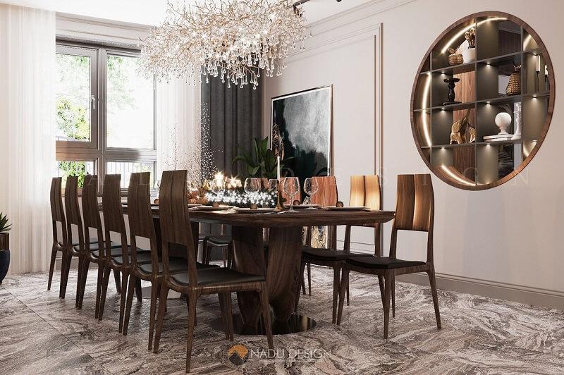 Bộ bàn ăn 12 ghế đẹp ở mọi góc nhìn