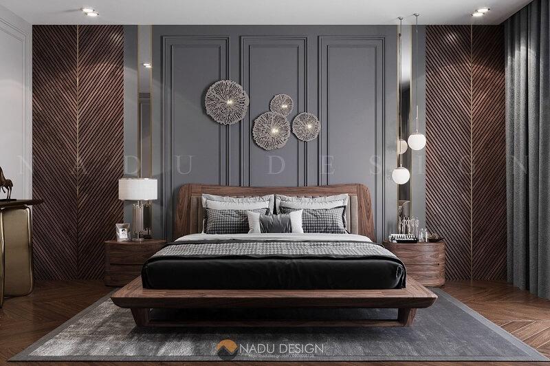 Phòng ngủ gỗ óc chó cực sang và chất