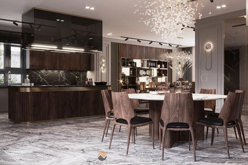 Không gian phòng ăn biệt thự cực sang trọng với bộ bàn ghế ăn kiểu dáng độc đáo
