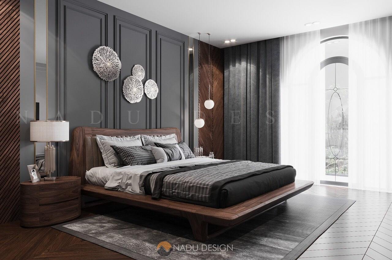 Giường ngủ gỗ óc chó kiểu dáng thẩm mỹ là điểm nhấn chính cho không gian