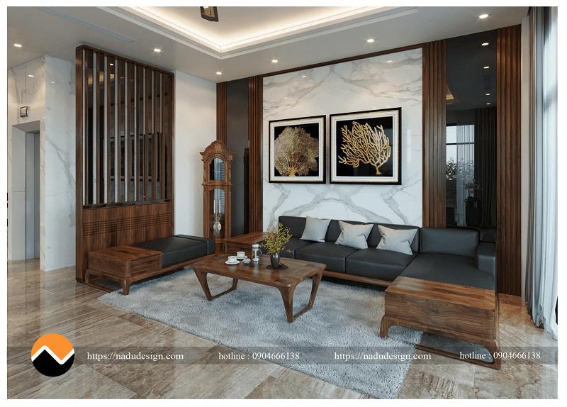 Bộ bàn ghế sofa gỗ óc chó sản xuất tại NaDu Design
