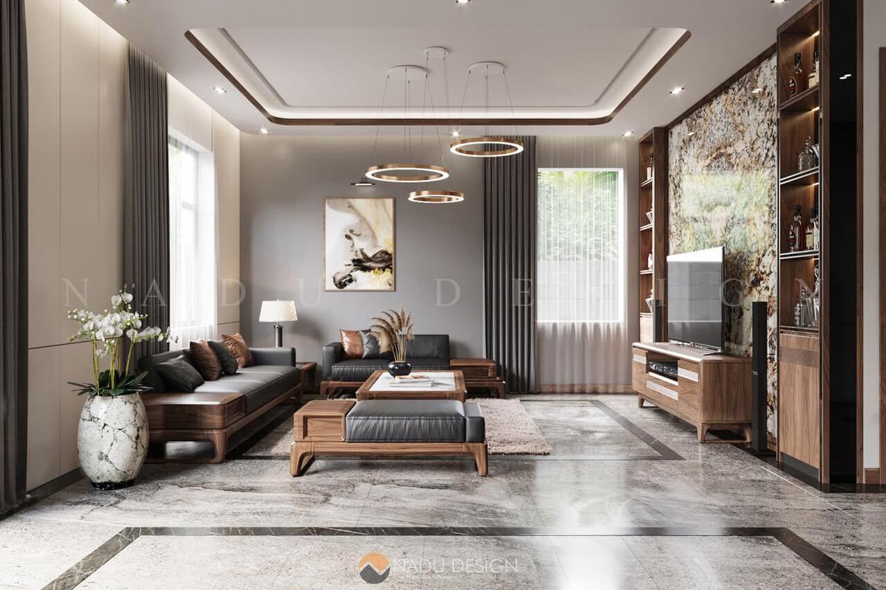 Sofa gỗ óc chó nguyên khối biệt thự Thái Bình
