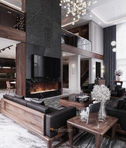 Sofa gỗ óc chó nguyên khối biệt thự Thủ Đức