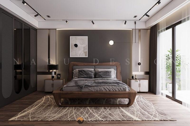 Thi công nội thất phòng ngủ biệt thự từ gỗ óc chó cao cấp