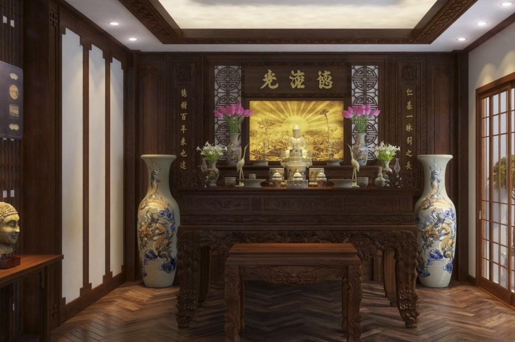 Thi công nội thất phòng thờ gỗ óc chó, quý phái và uy nghiêm