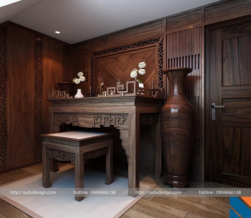 Mẫu thi công nội thất phòng thờ từ chất liệu gỗ óc chó do NaDu Design thực hiện