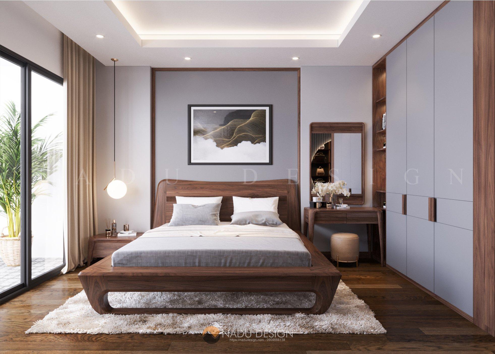 Phòng ngủ gỗ óc chó nhà phố