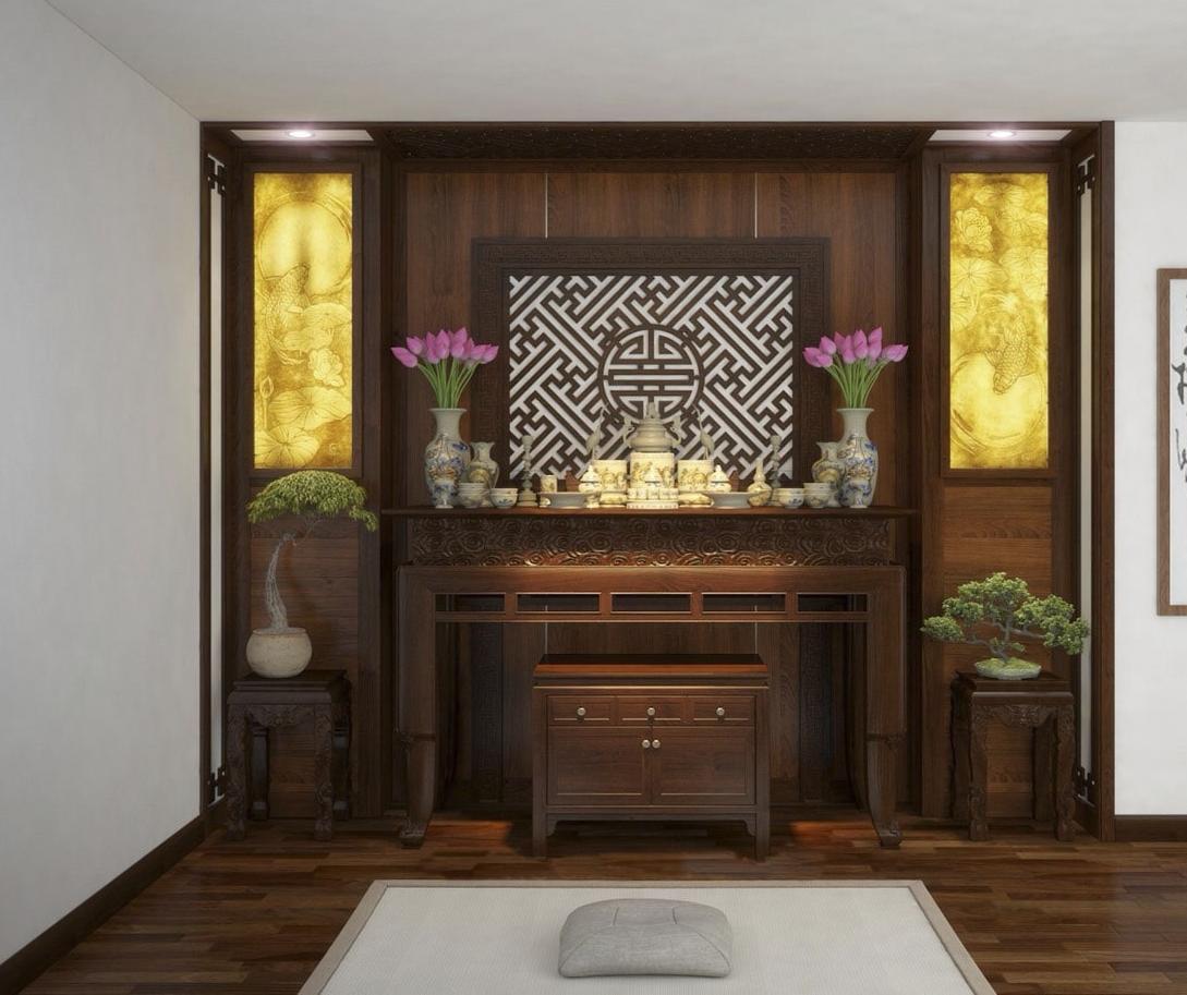 Tone màu trầm của gỗ óc chó rất thích hợp để thiết kế nội thất phòng thờ