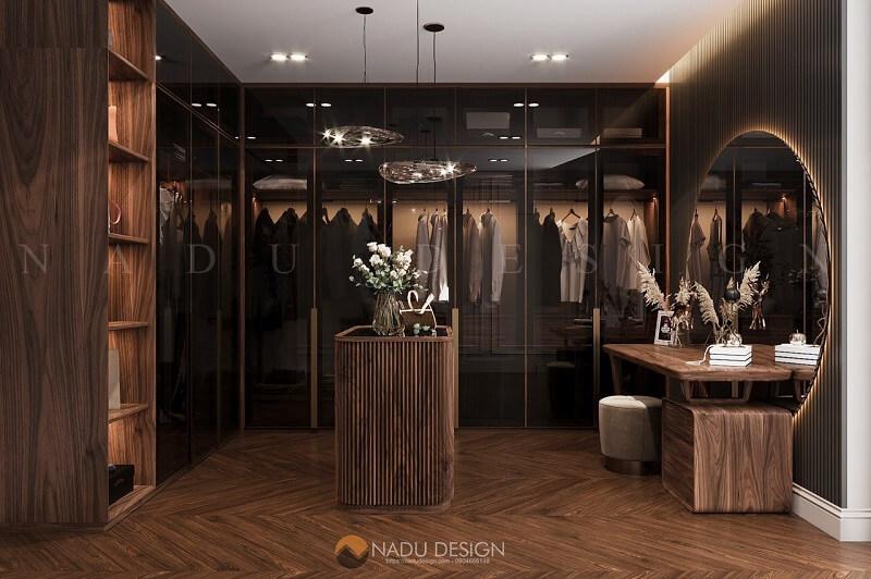Tủ quần áo gỗ MDF phủ veneer óc chó