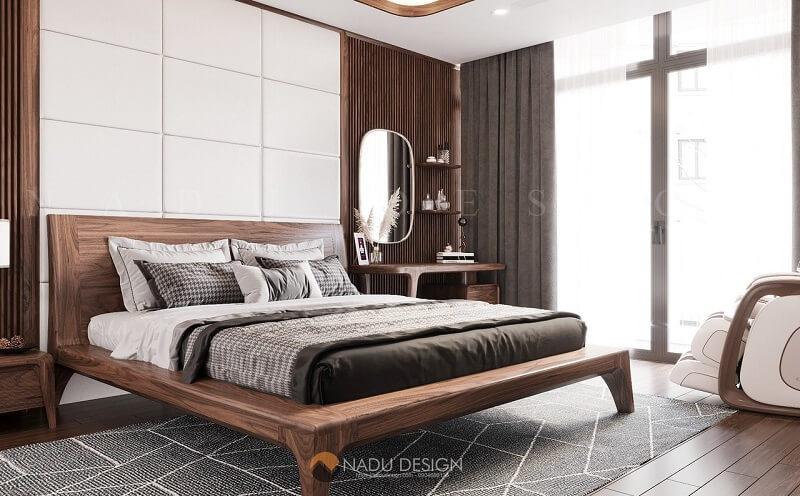 Giường ngủ gỗ óc chó kết hợp các phụ kiện khác từ gỗ óc chó đã tạo ra một không gian thư giãn, nghỉ ngơi tuyệt vời sau một ngày dài mệt mỏi