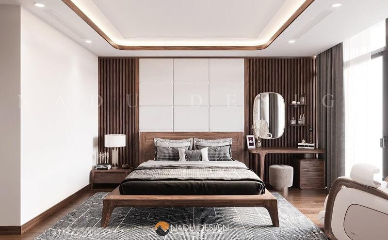 Toàn cảnh giường gỗ óc chó đẹp và vững chắc