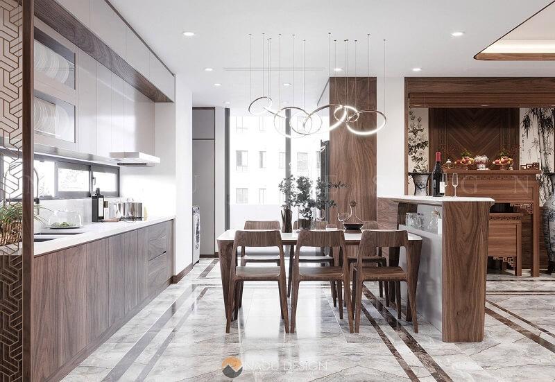 Khu bếp được thiết kế liên thông với phòng khách mang lại vẻ đẹp hiện đại, tươi mới và giúp căn nhà luôn thông thoáng.